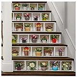 APSOONSELL Fototapete für Treppen in Blumentopfmuster(18 * 100cm pro Stück und 6 Stück pro Paket)