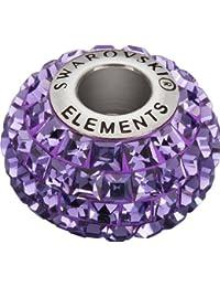 Grand Trou Perles de Verre a enfiler de Swarovski Elements 'BeCharmed Pave' 15.0mm (Tanzanite, Acier affiné), 12 Pièces