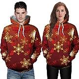 MRULIC Damen und Herren Weihnachten Strickpullover Deer 3D Printing Langarm Hoodie Sweatshirt Mit Kapuze Pullover Strickmantel Tunika Outwear(A5-Rot,EU-42/CN-XL)