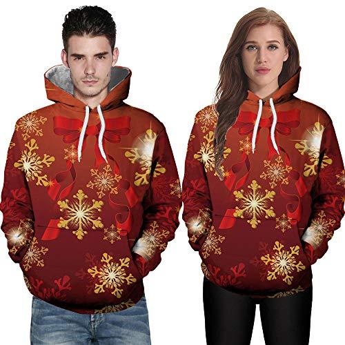 TIFIY Herren Weihnachten Pullover, Hässliche Pullover Weihnachten Paare Kapuzenpullover Mode Neuheit Warm Weihnachtsbluse Langarm Weihnachtsmann Kostüm(E,EU 54/CN 3XL)