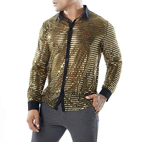 LSAltd Mode Männer Neue Sexy Pailletten Aushöhlen Perspektive Clubwear Party T-Shirt Bluse Männlich Gut Aussehend Einfarbig Reverskragen Langarmshirts Pullover - Clubwear Strass