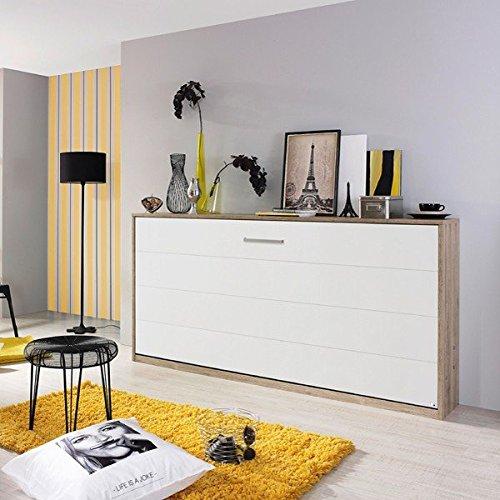 Funktionsbett weiß grau Gästebett Klappbett + Lattenrahmen Raumsparbett Wandbett Gästezimmer...