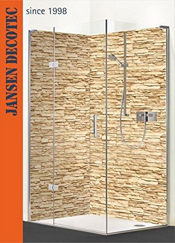 Eck - Duschrückwand, 2 Segmente je 90x200cm, Motiv: Steindecor_Sandstein - KOSTENLOSER Zuschnitt auf Ihr Wunschformat !