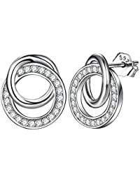 J.Endéar Earrings Women 925 Sterling Silver Studs,Sweet Romantic Love Interlocking Circles,Hypoallergenic Jewelry Birthday Christmas Gift