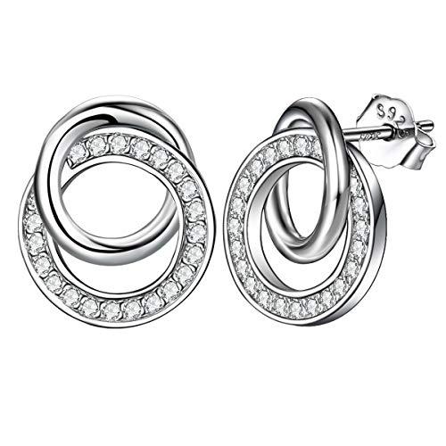 Ohrstecker Silber 925 Damen Ohrringe nickelfrei,süße romantik Liebe Doppel Ring mit zirkonia, J.Endéar Schmuck Valentinstag Geburtstag Geschenk für Frauen