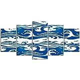 YOUMEISU Quadro 5 Pezzi Uccelli Mare Estate Onda Vento ventoso Tsunami Giapponese Flusso epicentro Thunderbird Storm Stampa su Tela in Immagini Moderni Murale Fotografia Grafica Decorazione