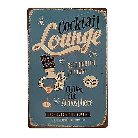 MagiDeal Vintage Tin Sign Bar Pub COCKTAIL Home Club Wall Deco Retro Metal Art Poster
