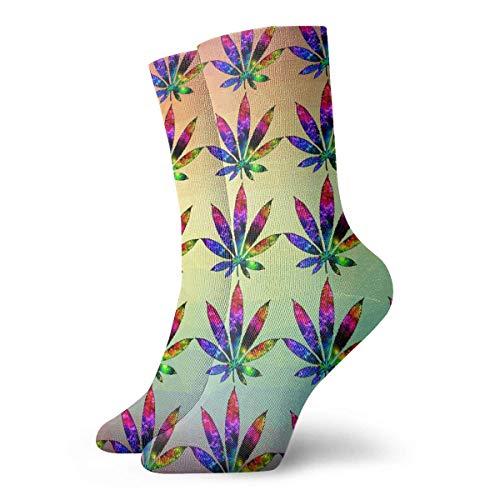 Crazy Sport Socke (Novelty Funny Crazy Crew Sock Tie DyeMarijuana Leaf Weed Printed Sport Athletic Winter Warm Socken 30cm Long Personalized Gift Socken)