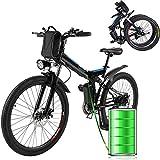"""E-Bike Bici Pieghevole Mountain Bike Bici Elettrica con Cambio Shimano 21 velocità, 250W, 8AH, Batteria agli ioni di Litio 36V, 26"""", Bici City Bike (Nero)"""