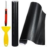 Faburo 2PCS 3D Carbon Autofolie Schwarz mit Gebrauchsmesser 127*30cm Car Fiber Wrapping Folie Aufkleber