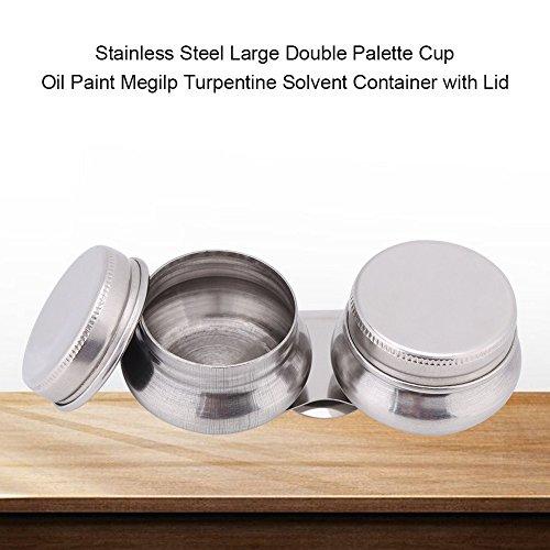 Ölfarbe Palette Tasse, Großer Mund Doppellöffel Edelstahl Doppelpalette Tasse Megilpen Terpentin Lösungsmittel Behälter mit Deckel