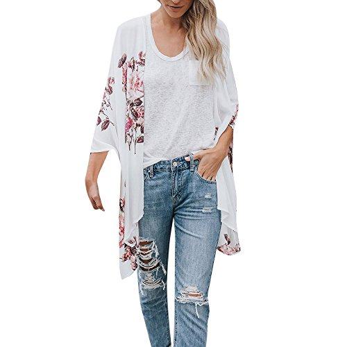 Ears Art und Weisefrauen Chiffon Schal-Druck-Kimono Strickjacke Oberseiten Abdeckungs Bluse Beachwear 3/4 Sleeve Floral Cardigan Cardigan Women's Long Sleeve Lace Top Jacket (S, Weiß) -