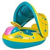 JMM Schwimmsitz Baby Schwimmerschalter Boot Ring-Schwimmen Sitz aufblasbar Floating Hundespielzeug mit Sonnenblende für Babys Kinder