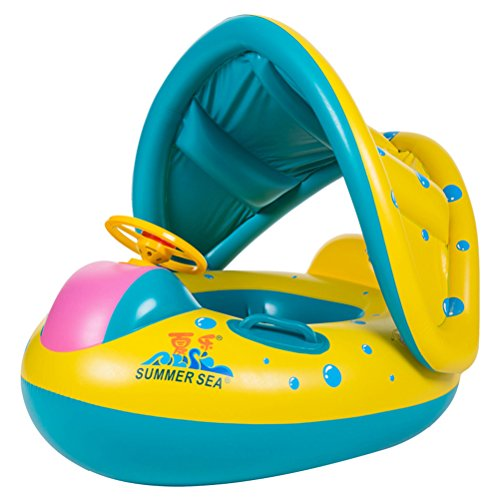 JMM Bouée Bébé Flotteur Bateau Anneau de Natation Siège Gonflable Floating Jouet avec Pare-soleil pour Bébés Enfants