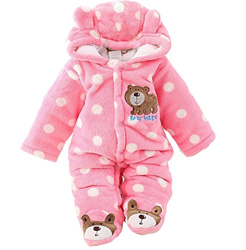 Newborn Unisex Baby Winter Jumpsuit Hooded Romper Fleece Onesie All In One Snow Suit Outfits