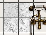 creatisto Fliesen Sticker Aufkleber Folie selbstklebend | Fliesenaufkleber abwaschbare Bad renovieren Küche Dekoration Bad | 20x20 cm Design Motiv Marmor weiß - 4 Stück