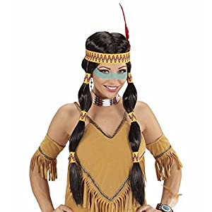 WIDMANN wdm93332?Indiana peluca Squaw con banda para cabeza y plumas, negro, One size