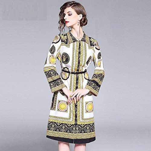 QUNLIANYI Abendkleid Abiballkleid Mid Dress Women Long Flare Sleeve Pattern Elegant Vintage Dresses with Belt Front Split Floral Printed L Vintage Womens Flares