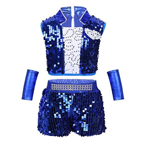 dPois Unisex Glänzend Pailletten Outfit Crop Top mit Shorts Armstulpen Kinder Jungen/Mädchen Hip Hop Jazz Tanz Kostüm Performance Kleidung Gr.98-164 Blau - Tanz Performance Kostüm Mädchen