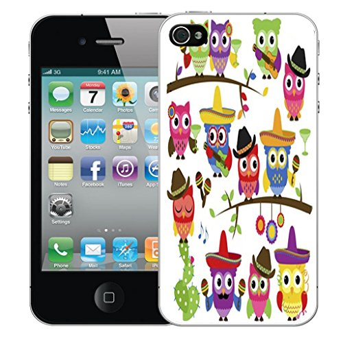 Mobile Case Mate iPhone 4s clip on Dur Coque couverture case cover Pare-chocs - mexican owls Motif mexican owls