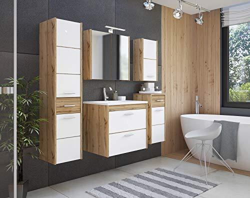 Ibiza Badmöbel-Set/Komplettbad 6-teilig in Weiß/Eiche Dekor, Waschtisch 60 cm, LED-Beleuchtung