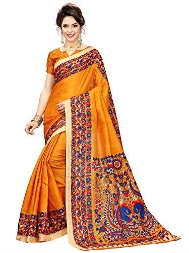 Art Decor Saree Printed Cotton Blended Original Traditional Kalamkari Art Silk Saree...