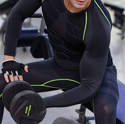 ZZLAY Herren Kompressions Longsleeves T-Shirts Dry Baselayer Sportbekleidung Hosen Set Schwarz & grün-Shirt