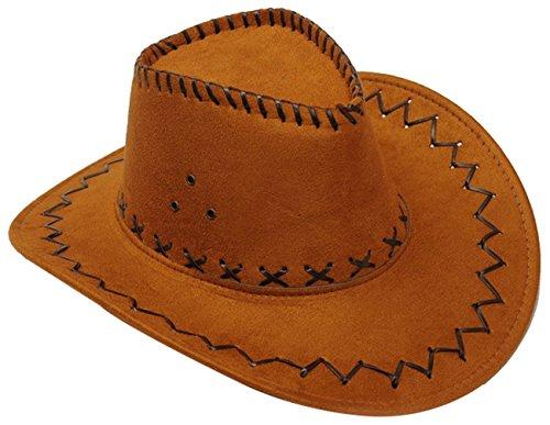 URqueen Fashion Unisex Wide Brim Hat Walker Leather Western Cowboy Hat brown
