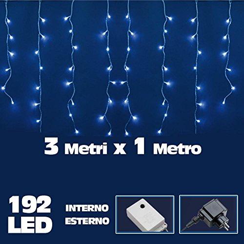 Bakaji Lighting Tenda Luminosa Natalizia 192 LED Luce Bianco Freddo 300 x 100 cm Luci Cavo 5 mt, Ideale per Uso Interno ed Esterno, Impermabile Luci Natalizie 3 metri x 1 metro
