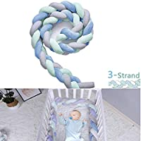 Baby Cot Crib Bumper Pads - Handmade Baby Head Guard Bumper Knot Braid Pillow for Baby