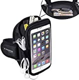 Avantree Trackpouch Sweatproof Neoprene Armband for Big Phones, iPhone 6 6S Plus, Samsung Galaxy Note 5 S5, Google Nexus 6P, with key holder and card pouch, for Running Gym Jogging Exercise Sports Workout