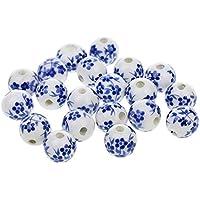 20pcs Flojo Del Espaciador Granos Encantos De Cerámica De Porcelana Flor - Azul