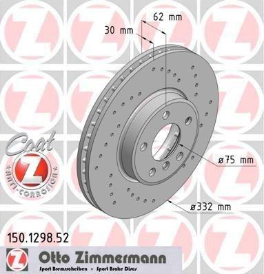 Preisvergleich Produktbild ZIMMERMANN 150.1298.52 Bremsscheibe Scheibenbremsen, Bremsscheiben (x2)
