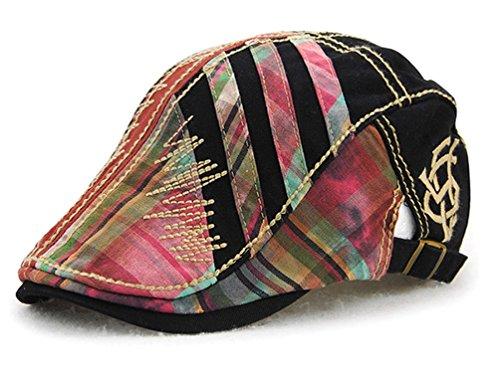 GADIEMENSS Hochwertiger Baumwoll-Barett Cap Peaked Flache Hut Einstellbare Weiche Leichtgewicht (Black) (Schwarz Camo-logo-hut)