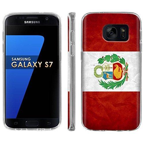 Samsung Galaxy [S7] Phone Case [ArmorXtreme] [Clear] Designer Image [Flexi Gel TPU] - [Peru Flag] for Samsung Galaxy S7 / GS7