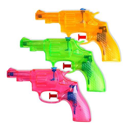 Schramm® 3er Pack Wasserpistole Mini Revolver ca. 13cm transparent Revolveroptik Wasserpistolen Wasser Pistole Water Gun Watergun