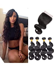 Brazilian Virgin Hair 4 Bundles Body Wave with 28 Grams 4x4 Lace Closure Unprocessed Human Hair Extensions Natural Black Colour 1214 16 18+12 Inches