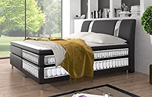 echtes premium boxspringbett mit tonnentaschenfederkern und visco topper doppelbett ehebett. Black Bedroom Furniture Sets. Home Design Ideas