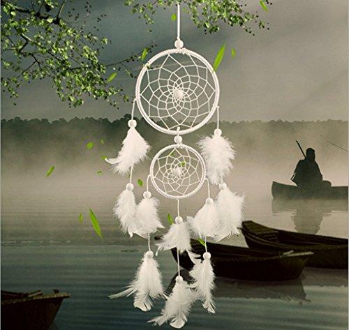 indiano-bianca-artigianato-acchiappasogni-con-piume-perlina-parete-appeso-ornamento