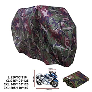 ANFTOP Waterproof Motorcycle Cover 3XL Camouflage Color UV Rain Protective Dustproof Breathable Scooter Motorbike Cover With Carry Bag Outdoor Cover XXXL