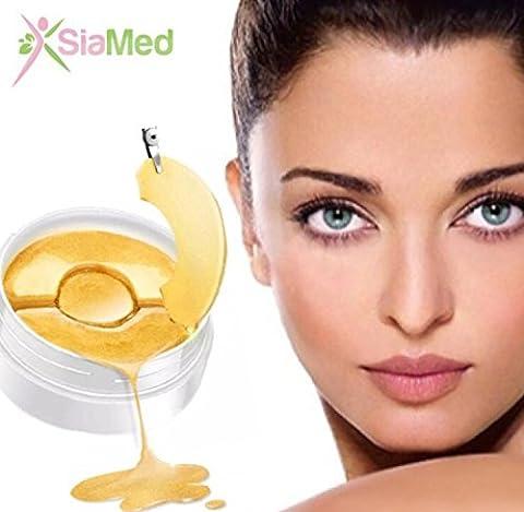 SiaMed Beauty Gold Eyes Gel Sticker Augenpads - Die feuchtigkeitsspendende Anti Falten Augenmaske gegen Augenringe & Falten – Augen Patches