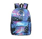 Unisex Mode Galaxy und Musik Muster Druck Rucksack Schultertasche Schulrucksack Oxford Gewebe Rucksack Reisen Daypack mit Fluoreszenz
