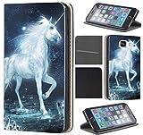 CoverFix Premium Hülle für Samsung Galaxy S5 Mini G800 Flip Cover Schutzhülle Kunstleder Flip Case Motiv (1470 Einhorn Pferd Fantasy Blau Weiß)