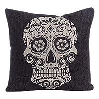 "tgyew Cotton Linen Square Decorative Throw Pillow Case Cushion Cover 18"" x 18"" Black Skull Halloween All Hallows"