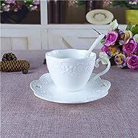 ZHGI Rilievo continentale ceramic white mug un paio di tazze di caffè tazza colazione latte di frutta,vetro Butterfly (Coppa + piattino)