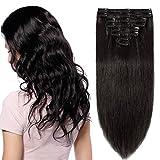 """Extension a Clips Cheveux Naturel [8 Pièces 18 Clips] Sans Shedding/Noeud/Tangle [8""""=20cm, 65g][1B#Noir Naturel]"""