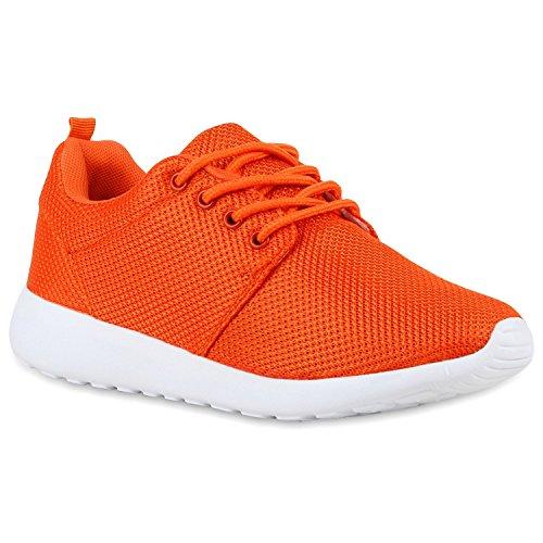 Damen Sportschuhe Laufschuhe Profilsohle Print Runners Orange