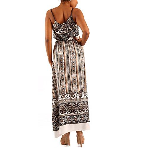 Damen Maxikleid Kleid mit Träger Allover Print Braun/Paisley