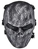 fantasma calavera Airsoft Paintball máscara completa protección Militar disfraz de Halloween, mujer hombre, color gris oscuro, tamaño Talla única