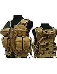 Militar táctica 045Airsoft Molle combate chaleco w/pistola cinturón marrón